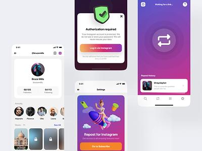 Instahelper App clean illustration menu white mobile app helper friends 3d popup feed profile repost instagram mobile