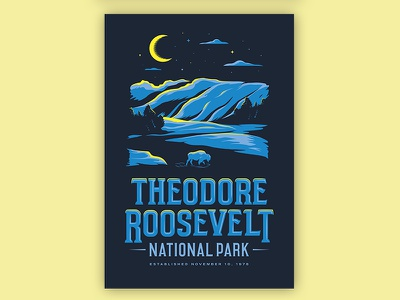 Theodore Roosevelt National Park - Type Hike bison type hike lettering illustration national park