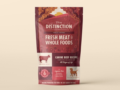 Nature's Logic Distinction Packaging logo dog illustration food dog package design packaging illustration