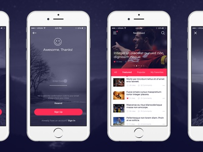 Clean & Modern iOS UI Kit material signup login app flat ui ux download psd free kit ios