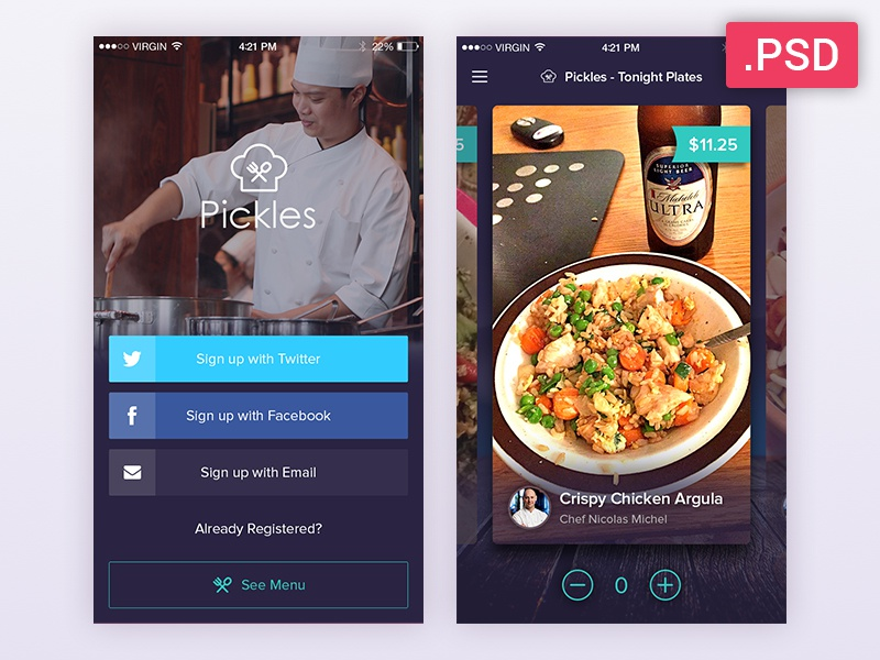 Restaurant app free psd by sandeep kasundra dribbble