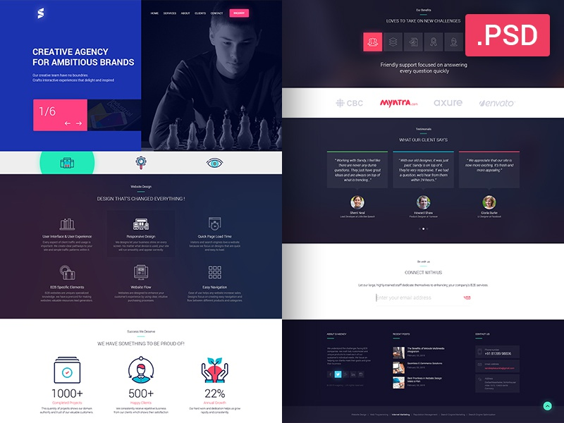 Creative Website Design - Free PSD template material web personal flat creative agency psd free download design website