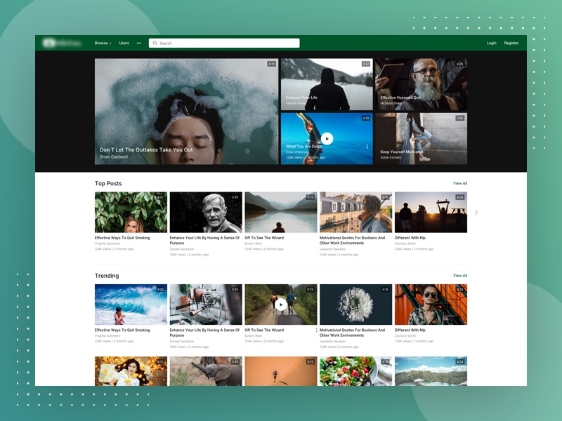 Video Sharing Website Design theme sharing concept redesign website upload youtube video design page landing