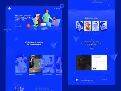 Creative Marketing Agency Landing Page digital studio marketing design agency theme services testimonial one page contact minimal illustration design website ux ui landing page home page