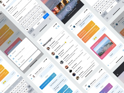 Messaging App android ios sketch kit free flat color theme whatsapp skype camera concept ux ui design chat message