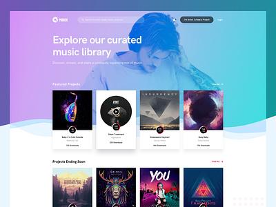 Music and Artist Platform background gradient creative theme web app ux ui home play songs landing page landing design website artist music