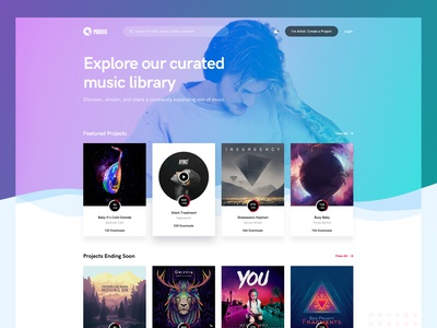 Music and Artist Platform background gradient creative theme web app ux ui home play songs landing page landing design website artist music