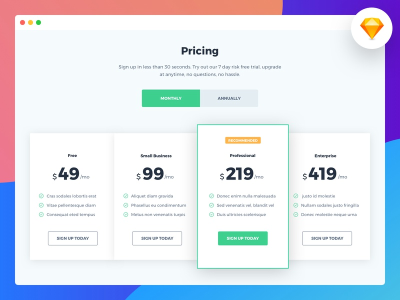 Pricing block flat app web table pricing concept creative design ui photoshop file sketch free download
