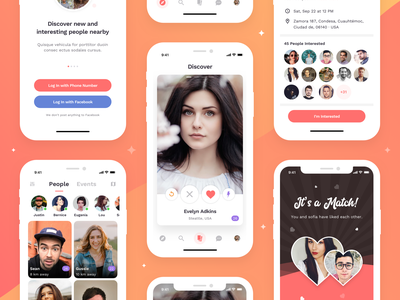 Dating App mobile theme ux swipe like invite onboarding people match concept design ui event dating app dating ios app