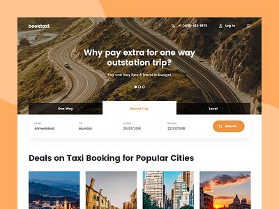 Taxi Booking Design destination page landing deals testimonial offer form trip ui travel design website booking taxi cab