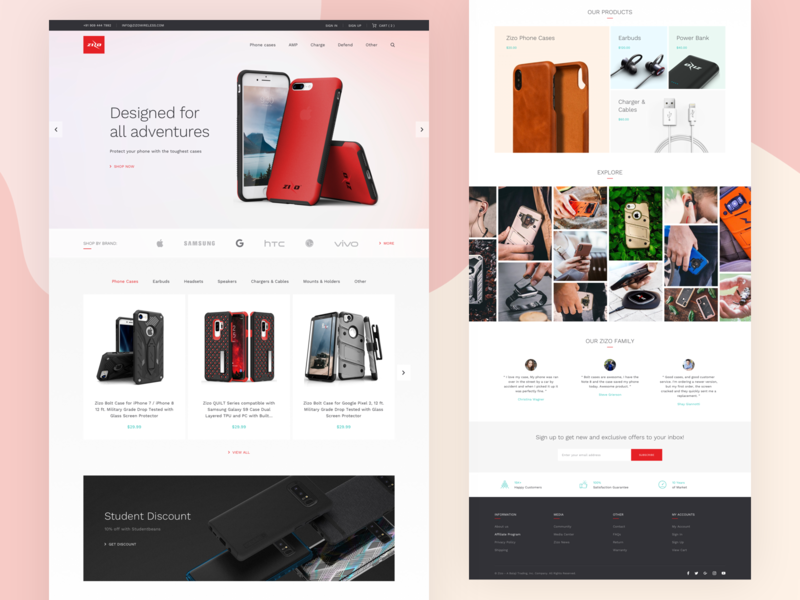 Zizo Landing Page Design Concept homepage theme cover case accessories mobile page landing concept design website