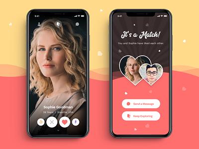 Dating App UI theme concept swipe explore message dashboard profile match app dating design ui ios