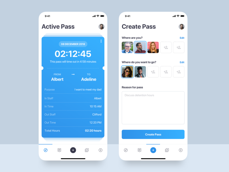 Pass UI Design Concept menu team form create concept design screen pass android app android ui ios