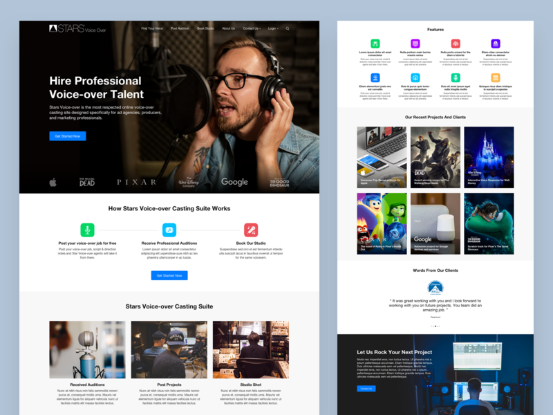 Voice Over Agency Landing Page home design professional talent artist voice over website landing page design
