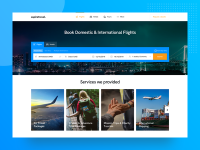 Travel Agency Landing Page banner header form design home page ui services tour landing page travel agency travel flight hotel