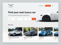 Falcon design concept brand reservation white luxury list form search rental car header page landing flat concept website ui design
