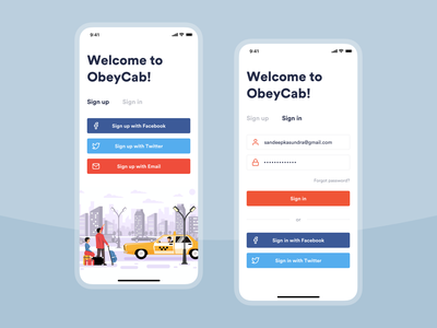 Sign up / Sign in Interface Design flat website social transport taxi android ios app mobile ui design registration signup login