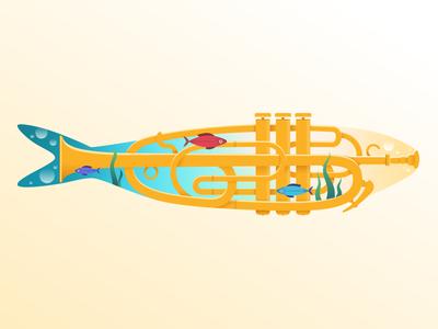 Trumpet sardine sea trumpet animal illustration lisbon festa fish sardine