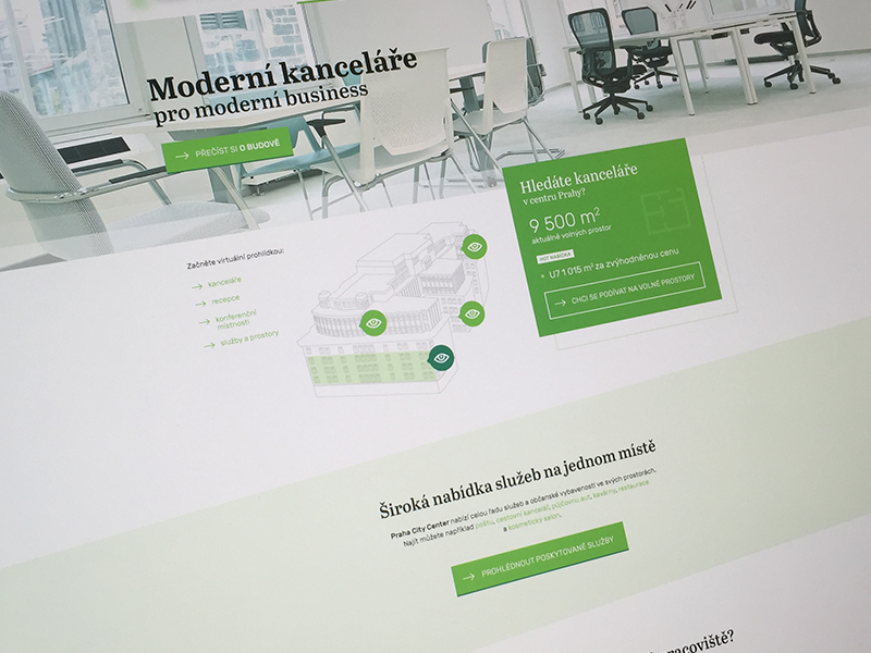 Modern offices in Prague - coming soon modern green clear black minimalistic ui ux uxdesign design web webdesign