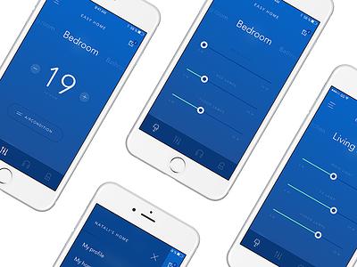 Easy Home App minimalism clear smart smarthome ios blue mobile design app design app mobile app