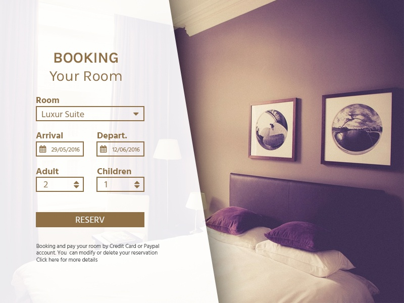 Hotel Booking form hotel reservation room booking dailyui daily ui