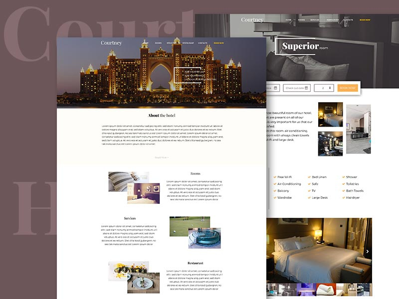 Hotel Courtney PSD project shot site website template design webdesign booking hotel