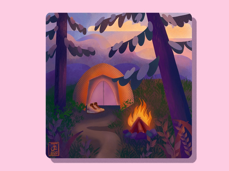 Campfire Illustration shape flat design textures chalk lo-fi digital design digitalart hiking boots hiking hike tent campfire camping camp nature trees illustration design procreate art procreate