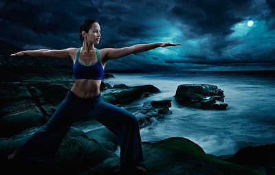 Moon Worship conceptual photoshop yoga hyper real photography retouching composite compositing mood moody blue landscape woman beautiful powerful dramatic lighting retouch cs5 photo