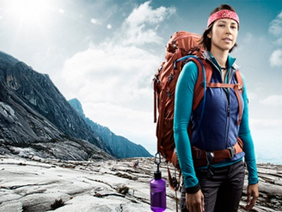 Mountaineer photography composite outdoors portrait woman san diego california photography photo photo manipulation retouching retouch lighting color bright blue
