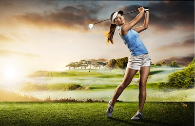 Golf  golf photography composite retouch retouching hyper real color photo lens flare sport athletic advertising branding
