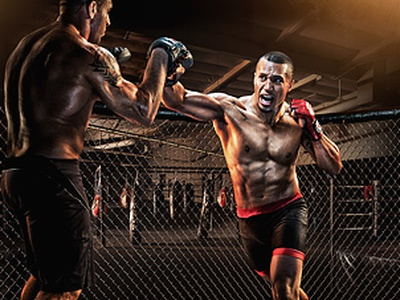 MMA action action photography mma mixed martial arts martial arts composite retouch retouching color agression fight