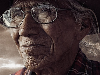 Diné photography composite outdoors portrait man san diego california photo photo manipulation retouching retouch lighting color warm navajo native american tribal face old elderly