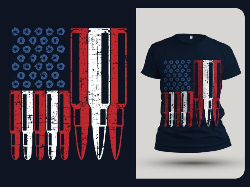 American Gun Lover T shirt Design logo illustration branding custom t shirt design badass teesvector amazon fba seller vector gun flag american flag vintage