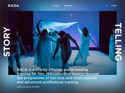 RADA - Royal Academy of Dramatic Art offset typography rada homepage blur web design