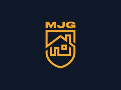 MJG Logo abstract design logo crest monogram renovation maintenance icon house home shield branding