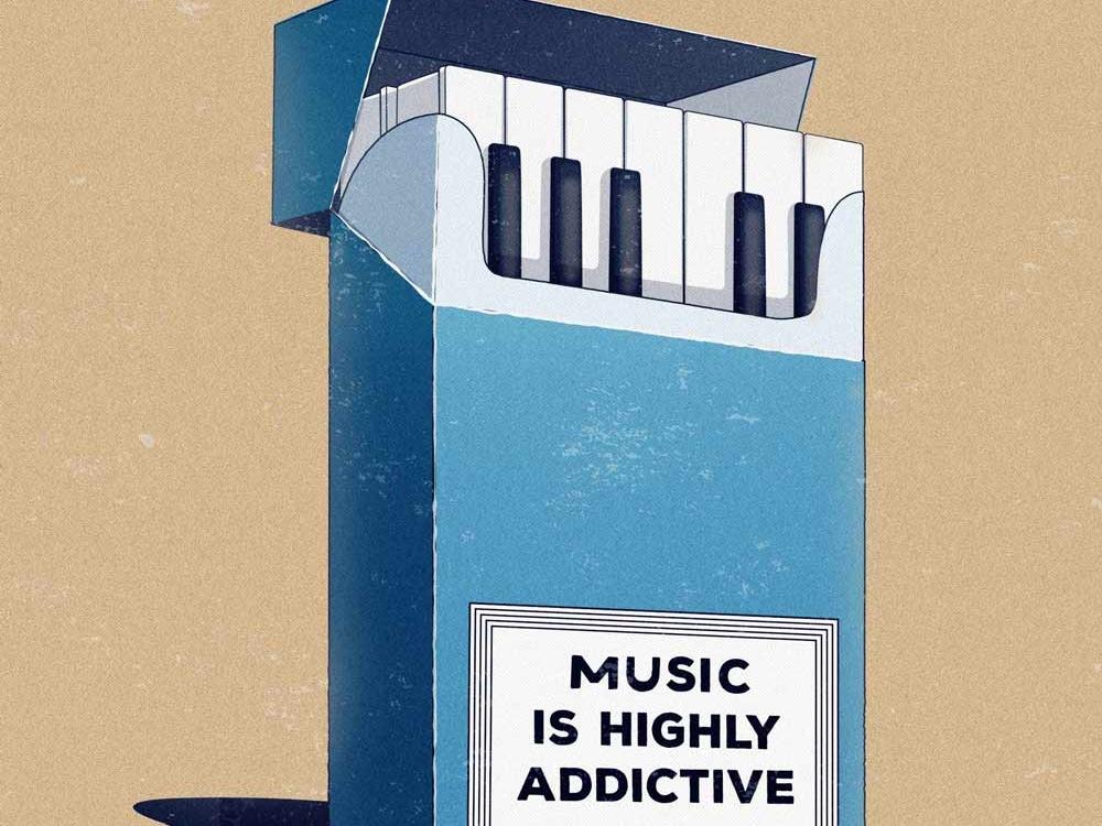 Music is highly addictive vector design digital illustration blue musician music art iconeo digital art vector art piano keys creative art addiction cigarettes music piano