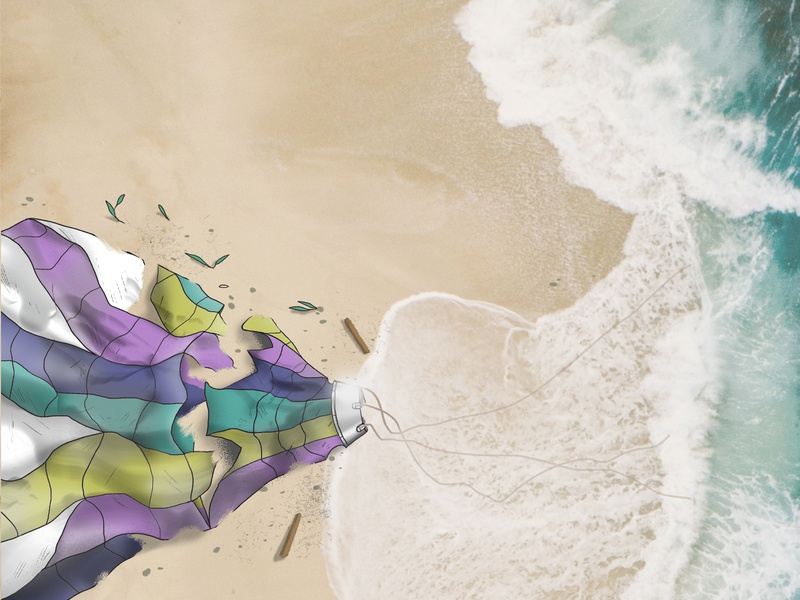 Hot Air Balloon Illustration album art sea ocean beach shipwreck digital painting painting illustration hot air balloon