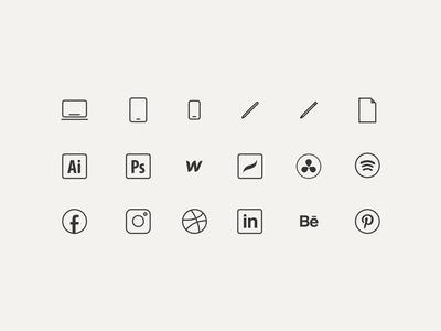 Web Icons for Personal Portfolio Site iconography illustrator illustration logo design app design app icon app tools graphic design tools graphic designer portfolio icon design icons