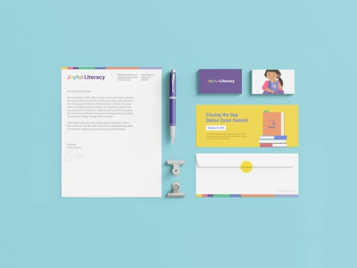 Branded Stationary for Joyful Literacy illustration graphic design colourful literacy education business card branding and identity print design branding stationary