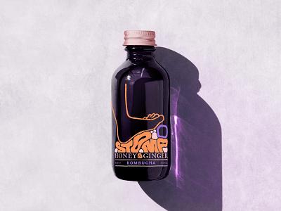 Stompbucha Bottle Design illustration feet foot tea packaging design label design kombucha
