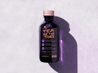 Stompbucha Bottle Design (Back) label design illustration stomp feet foot beverage tea kombucha packaging design