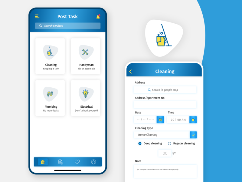 Cleaning service App by Rahman Md Naziur on Dribbble