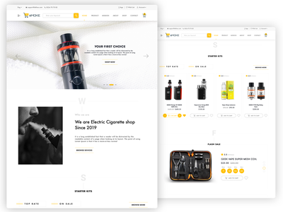 Electronic cigarette eCommerce Website UI UX Design