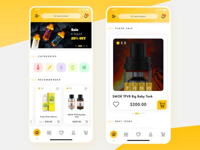 Electronic cigarette eCommerce App UI UX Design