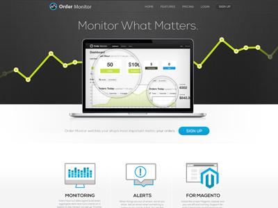 Order Monitor Landing monitor computer macbook laptop homepage landing site web webpage icons magento graph logo order
