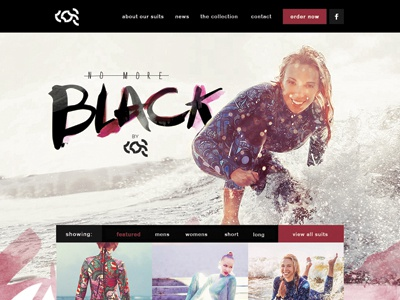 No More Black by Kos wetsuit surf water kos no more black fashion website ui homepage landing page design brush