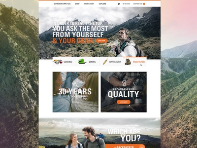Outdoors Home homepage ecommerce outdoors website shop mountain hiking brand design hero webdesign product