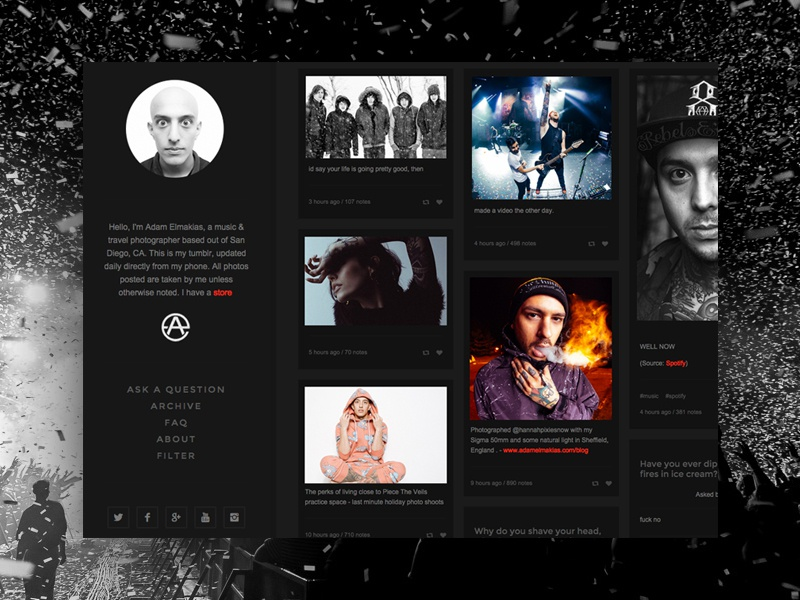 Adam Elmakias Tumblr photography concert tumblr tile grid blackonblack feed design ui web interface blog