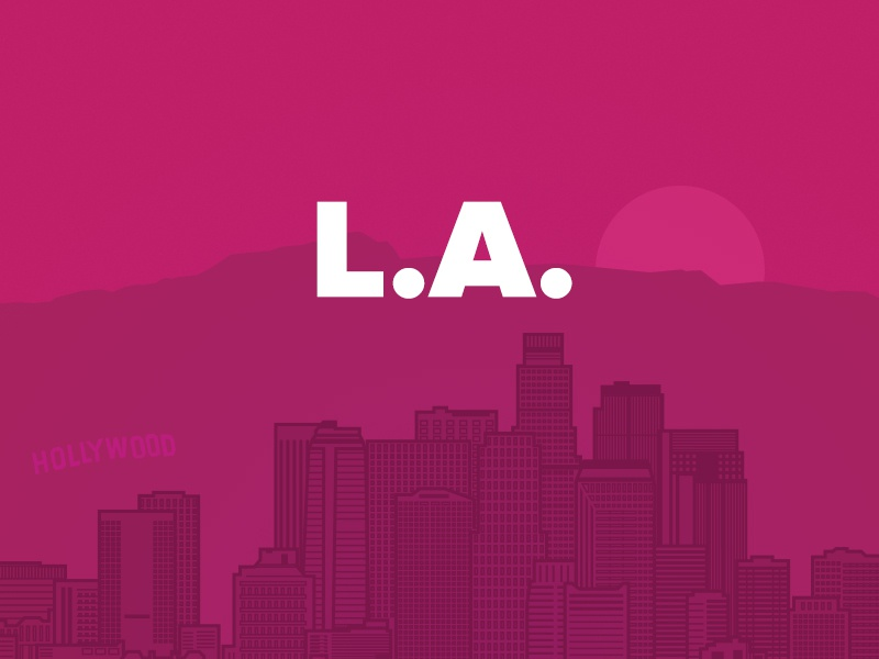 Los Angeles la losangeles city skyline linework outline mountain california huge pink agency design
