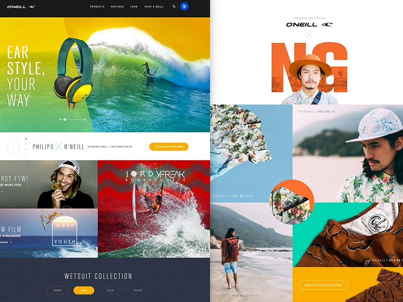 O'neill The Rebirth - WIP landing ui clean design ecommerce lifestyle website homepage color flat surf wetsuit